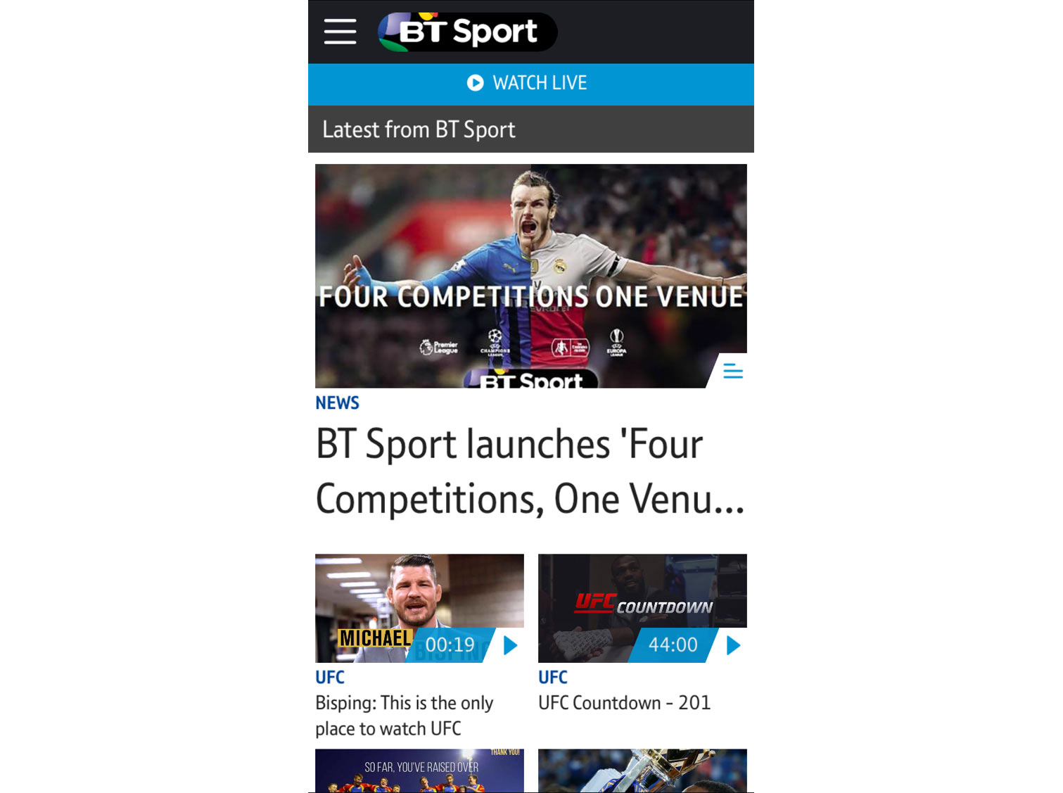 BT Sport app home page