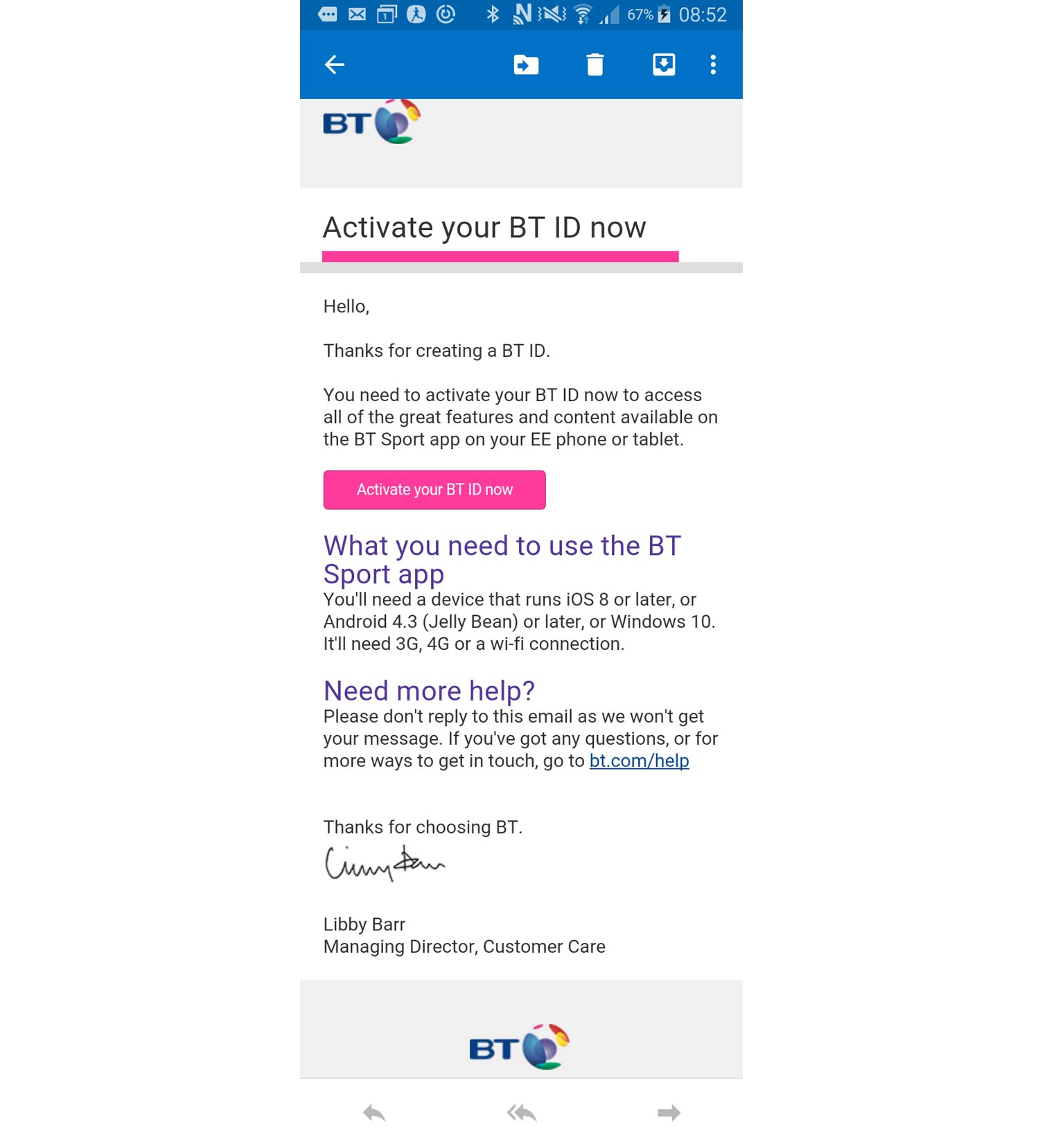 BT ID activation email